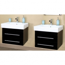 Bellaterra 48.5 in. Double Wall Mount Sink Vanity - Black