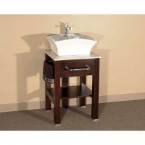 Bellaterra 24.2 in. Single Sink Vanity - Medium Walnut