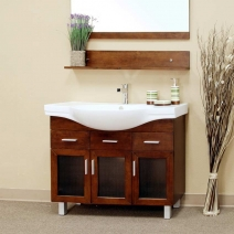 Bellaterra 39.8 in. Single Sink Wood Vanity in Medium Walnut