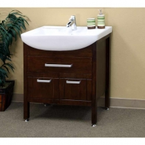 Bellaterra 29.9 in. Single Sink Vanity - Medium Walnut