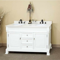 Bellaterra 60 in. Double Sink Vanity - Cream White