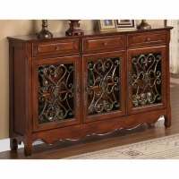 Powell Walnut 3 Door Scroll Console