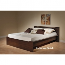 Prepac Coal Harbor Espresso Platform Full/Queen Bed Ensemble