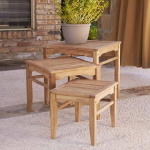 Holly & Martin Howland 3pc Teak Nesting Table Set