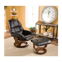 SEI Bonded Leather Recliner and Ottoman-Black