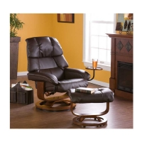 Bonded Leather Recliner and Ottoman-Brown