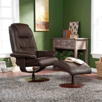 SEI Brown Leather Recliner and Ottoman