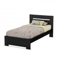 South Shore Flexible 39 in. Twin Bed w/Headboard - Black Oak