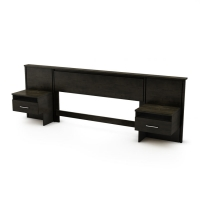 South Shore Gravity Queen Headboard w/Night Stands - Ebony