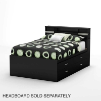 South Shore Step One Full Captain Bed (54 inches) - Pure Black