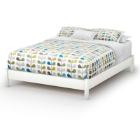South Shore Step One Queen Platform Bed 54/60 - Pure White