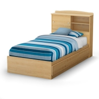 South Shore Step One Twin Mates Bed/Headboard Set (39 inches) - Natural Maple