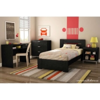 South Shore Flexible Twin 4 pc. Bedroom Set - Black Oak