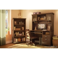 South Shore Gascony Desk/Hutch/Bookcase Set - Sumptuous Cherry