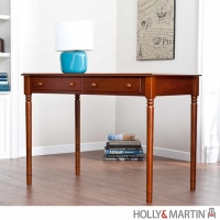 Holly & Martin Parker Brown Mahogany 2-Drawer Writing Desk