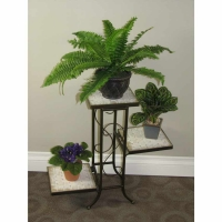 4D Concepts 3 Tier Plant Stand with Travertine Top