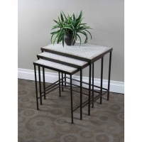 4D Concepts 3 Piece Travertine Nesting Table