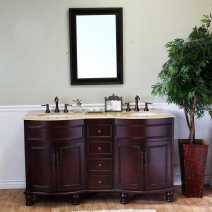 Bellaterra 62 in Double Sink Wood Vanity in Walnut & Travertine