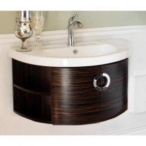 Bellaterra 34 inch Single Wood Vanity in Ebony-Zebra
