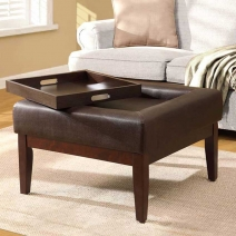 4D Concepts Preston Square Pullout Tray Cocktail Ottoman