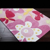 Surya Chic Floral Parfait Pink Area Rug