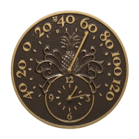 Whitehall Pineapple Indoor Outdoor Wall Clock & Thermometer - French Bronze