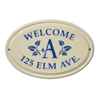 Leaf Monogram Ceramic Oval Standard Wall Plaque - Whitehall