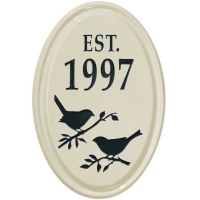 Bird Silhouette Ceramic Oval Petite Wall Plaque - Whitehall