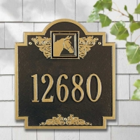 Horse Head Monogram Standard 1 Line Wall Plaque - Whitehall
