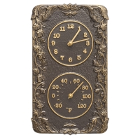 Whitehall Acanthus Indoor Outdoor Wall Clock & Thermometer - French Bronze