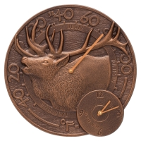 Whitehall Elk Wall Clock & Thermometer