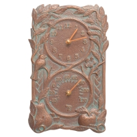 Whitehall Fruit Bird Indoor Outdoor Wall Clock & Thermometer - Copper Verdigris