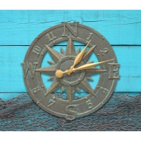 Whitehall Compass Rose Indoor Outdoor Wall Clock