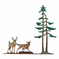Deer & Pines 30 inch Rooftop Weathervane - Whitehall