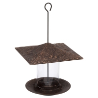 Oakleaf 6 inch Tube Bird Feeder - Oil Rubbed Bronze
