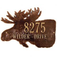 Moose Silhouette Standard Wall 2 Line Plaque - Whitehall